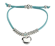 Turquoise Suede Bracelet. Love Heart Charm and Silver Bead Detail. Bridesmaid