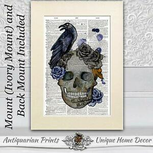 Skull and Raven Dictionary art Print mounted Gothic picture