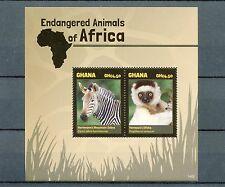 Ghana 2014 MNH Endangered Wild Animals of Africa 2v S/S II Zebra Sifaka Lemur