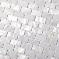 Subway Mini Brick Mother of Pearl Tile White for Kitchen Backsplash Bath Walls