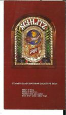 Ap-025 Schlitz Advertising Card for Stained Glass Backbar Logotype Sign