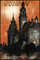 Krakow Poland Vintage Travel Art Print Poster 12x18