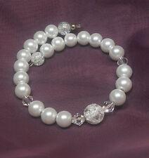 Memory Wire Armband Spiralarmband  Perlen weiß Crackle Perlen Biconen NEU