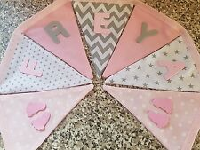 PERSONALISED BUNTING-BABIES FOOTPRINTS- PINK, GREY MIX£1 PER FLAG, FREE P&P