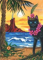 ACEO PRINT OF PAINTING RYTA HAWAII BLACK CAT VACATION SEASCAPE VOLCANO FLOWERS