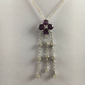 Exquisite - 1.397 carats of Amethyst & White Topaz in 9 carat White Gold Pendant