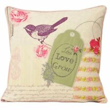 Paoletti Patchwork Cushion Cover Birds Floral Plants Garden Pink Purple Green