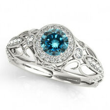 0.8 Ct Fancy Blue Diamond SI2 Halo Engagement Ring Stunning 14k White Gold
