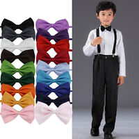Lot Children Girls Boys Toddlers Bowtie Pre Tied Wedding Bow Tie Plain Necktie