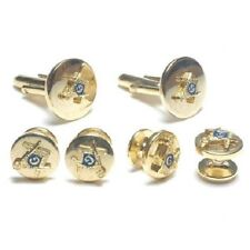Masonic Cufflinks and Stud Set Gold Finish