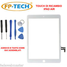 TOUCH SCREEN VETRO PER APPLE IPAD AIR BIANCO SCHERMO TASTO HOME E ADESIVO INCLUS