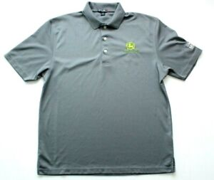John Deere Polo Shirt Size M Grey Embroidered Logo Commercial Mowing Sport-Tek