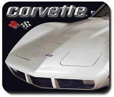 C3 White Corvette Black Rubber Base Computer Mouse Pad Logo Licensed