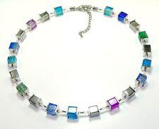 Halskette Würfelkette Perlen Würfel Glas crash blau silber grün lila  002f