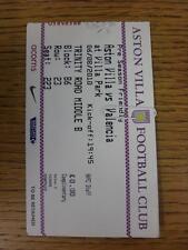 06/08/2010 BIGLIETTO: Aston Villa V Valencia [amichevole]. questo oggetto è in ottime