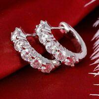 1.50 Ct Round Cut VVS1/D Diamond Huggie Hoop Earrings 14K White Gold Finish