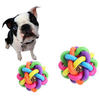 Pet Dog Puppy Colored Woven Ball Bell Sound Teeth Cleaning Training Chew Toy NEW
