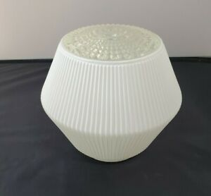 Vintage White Glass Ribbed Light Cover Fixture Mid Century Globe.art deco style.