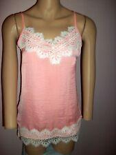 Melissa Paige Pink Camisole White Lace Trim- Adjustable Spaghetti Straps-Size XS