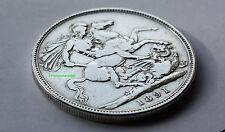 1891 corona d'argento Regina Vittoria. 92.5% (argento Sterling)
