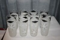 Vtg Mid Century Modern Atomic Snowflake Starburst Frosted Drinking Glasses