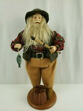 """Santa Fishing Collectible Doll Figure - 15"""" Tall - Pre-Owned"""