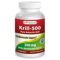 Best Naturals Krill Oil 500 mg 120 Softgels *Highest Level of Omega 3s*