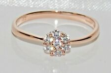 9ct Rose Gold Daisy Cluster Engagement Ring size P - UK Hallmarked