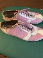 COACH Pink Signature C Logo Gold Kelby Lace Sneakers Shoes 9M