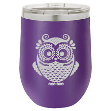 Stemless Wine Tumbler Coffee Travel Mug Glass Double Wall Insulated Owl Vintage