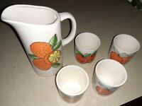 Ceramic Orange Juice Pitcher With 4 Cups Made In Japan