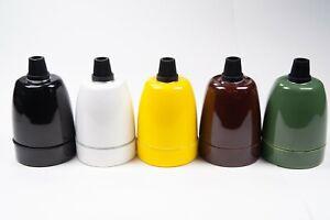 E27 Porcelain Ceramic Pendant Lampholders -  Various Colours with Hook or Grip