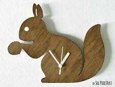 Cute Squirrel holding an acorn - Wooden Wall Clock