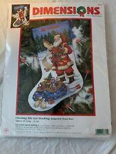 "Dimensions Cross Stitch Christmas Stocking Kit #8645 Checking his List Santa 16"""