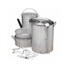 30 QT Deep Turkey Fryer Pot Kit Wings Fish Baskets Outdoor Propane Stockpot NEW