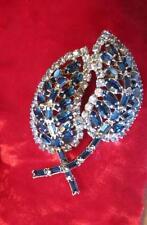 Large Vintage Signed Kramer NY Blue Crystal Rhinestone Brooch Pin