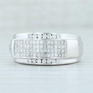 Men's 1.50ctw Diamond Ring 14k White Gold Size 10.25 Wedding Band