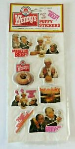 Vintage Wendy's Puffy Stickers Clara Peller Where's The Beef Hot Stuffed #1335