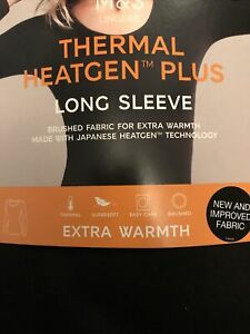 MARKS & SPENCER THERMAL HEATGEN PLUS LONG SLEEVE TOP ROUND NECK BLACK SIZE 18