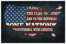 Pledge of Allegiance, Map of the United States Patriotic, Flag - Modern Postcard