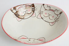 Mino ware Japanese Ceramics Oval Plate Smiling Cats Pink made in Japan
