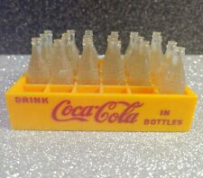 Vintage 19 Miniature Coke Bottles in Yellow Crate Red Lettering Drink Coca Cola