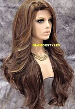 "33"" Long Wavy Layered Brown Golden Blonde Mix Full Lace Front Wig Heat Ok  NWT"