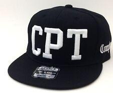 COMPTON CPT BLOCK 3D EMBROIDERED FLAT BILL SNAPBACK BASEBALL CAP HAT BLACK