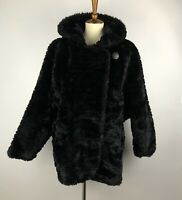 VINTAGE CARLY MONTEREY BLACK FAUX FUR HOODED COAT JACKET SIZE 14 MADE IN USA