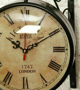 Vintage Victoria Station Clock Double Face Clock Functional Home Decor Clock