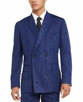 INC Mens Blazer Blue Size Medium M Wood Print Double Breasted Slim Fit $200 #180