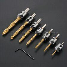 7Pcs Hss 5 Flutes Countersink Drill Bits Set Woodworking Chamfer Hex Shank Tool