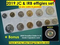 2019 IRB & JC Unc sets 5c 10c 20c 50c $1 MOR $2 -12 coins in pockets ex RAM bags
