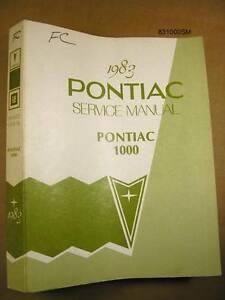 "1983 Pontiac 1000 Service Manual 1 1/8 "" Thick 200+ Pages, 831000SM"